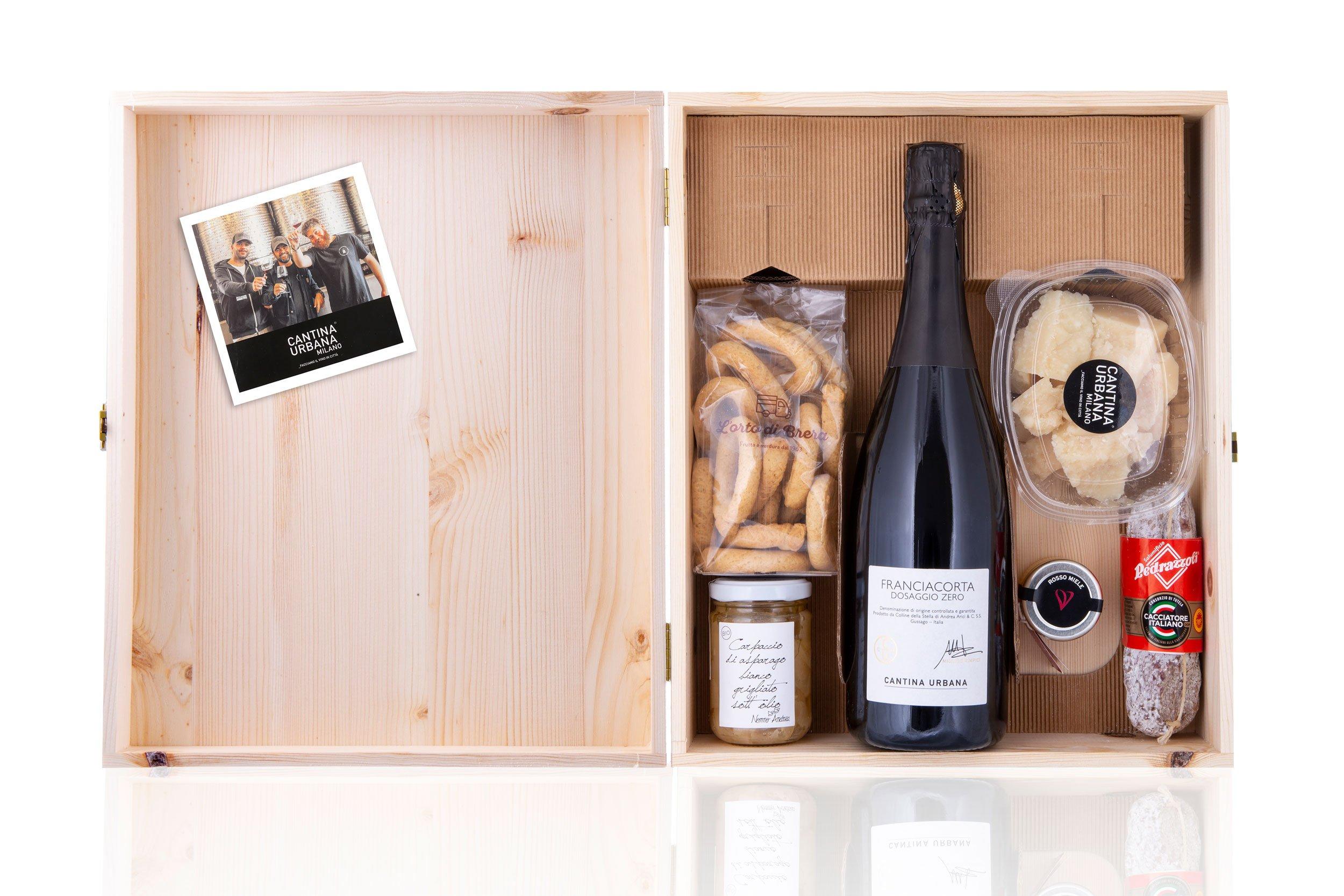 Spring Box in cassa legno con Franciacorta Docg